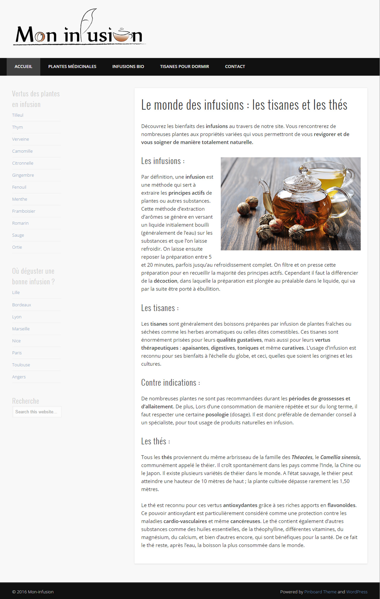 Mon infusion - page d'accueil