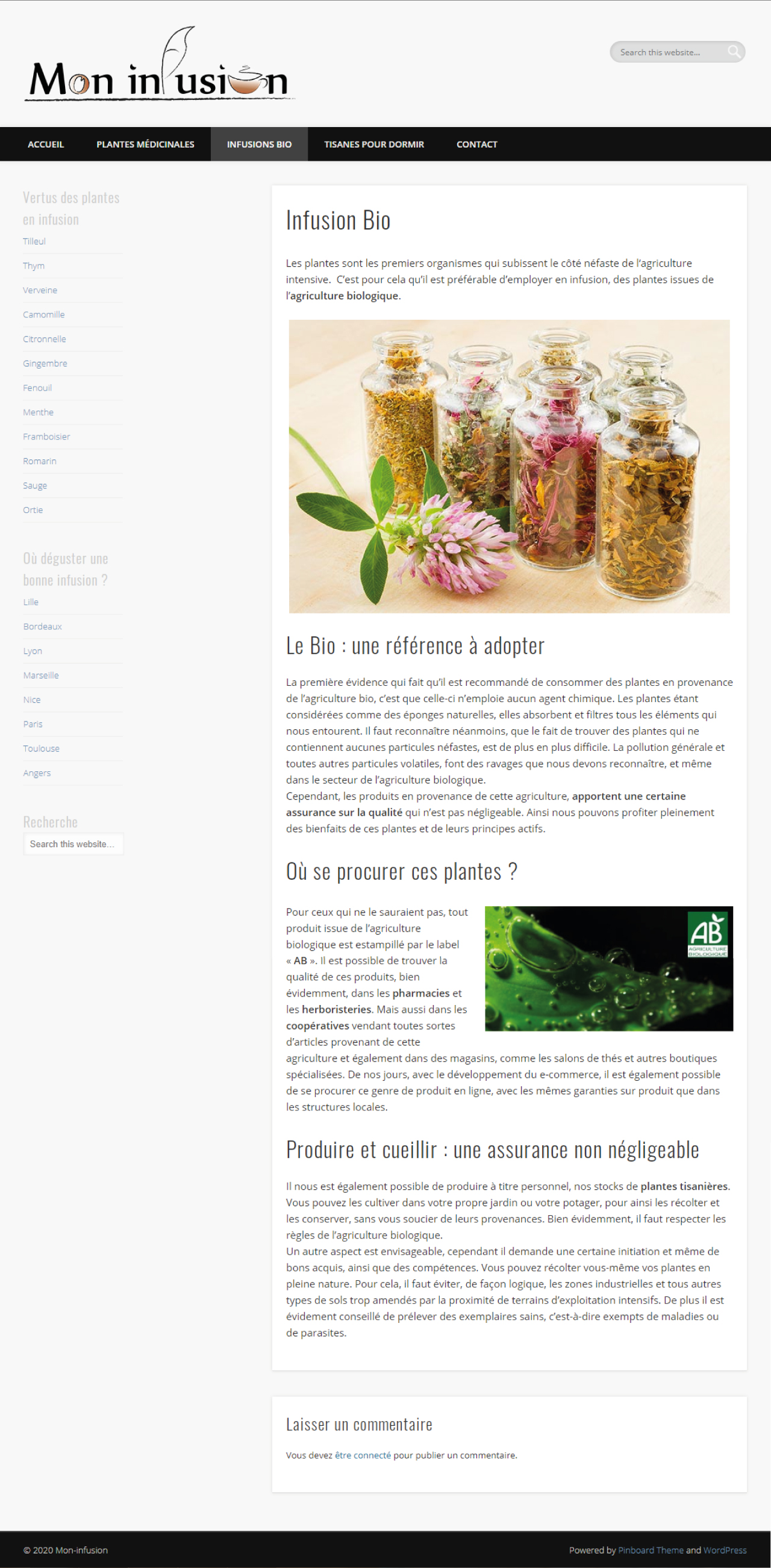 Mon infusion - page annexe